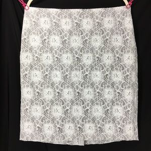 Banana Republic Pale Mint Lace over Gray Skirt EUC